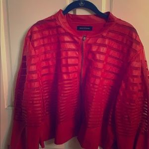 Red see through faux leather jacket
